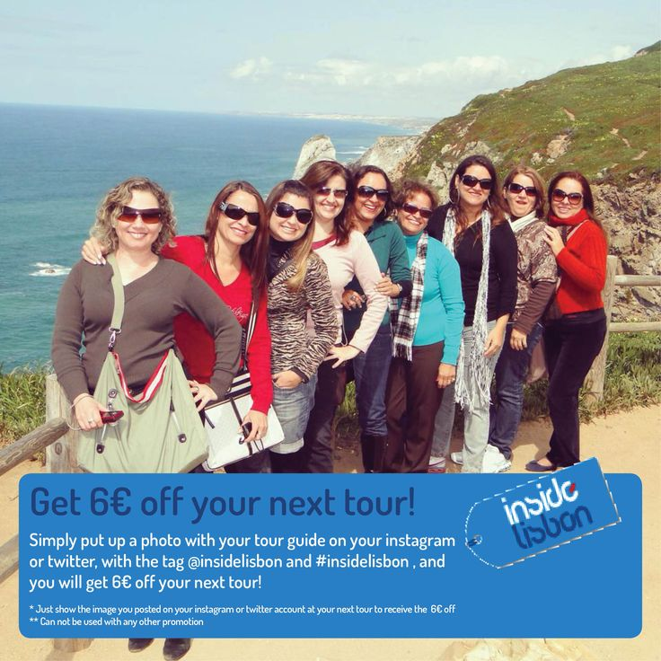 http://www.insidelisbon.com/ Fancy getting 6€ off your next tour..! During the month of July we are offering a 6€ discount when you capture and share a picture with your tour guide.  Simply put up a photo with your tour guide on your Instagram or twitter account with the tag @insidelisbon and #insidelisbon, and you will get 6€ off your next tour.