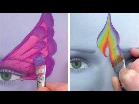 5 Kinderschminken Pinsel für coole Striche und Effekte / Kinderschminken lernen TEIL 4 - YouTube