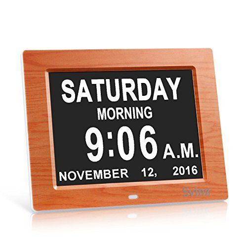 Svinz 3 Alarms Dementia Clock, Digital Calendar Day Clock for Vision Impaired, Elderly, Memory Loss, Wood Grain, SDC008W