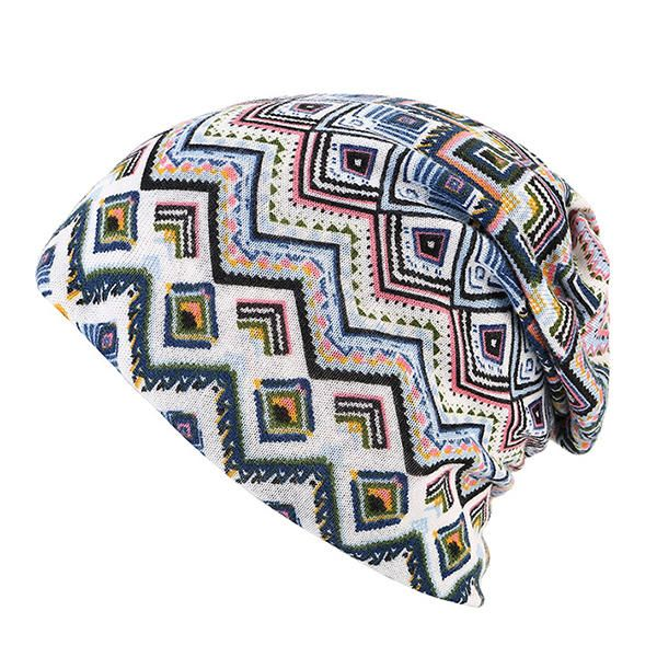 Women Knitted Printing Beanie Caps Dual Use Cycling Windproof Bonnet Cap and Scarf at Banggood