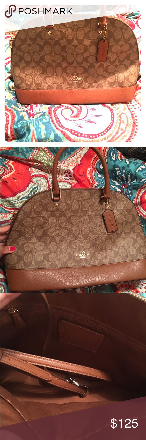 Brand New Coach Satchel! Only worn once! 👜👠 Great cream and beige Coach Satchel! Brand new only worn once. I'm more of a black purse kind of lady! Originally $350 from the Coach Store. Great for work and play! Coach Bags Satchels