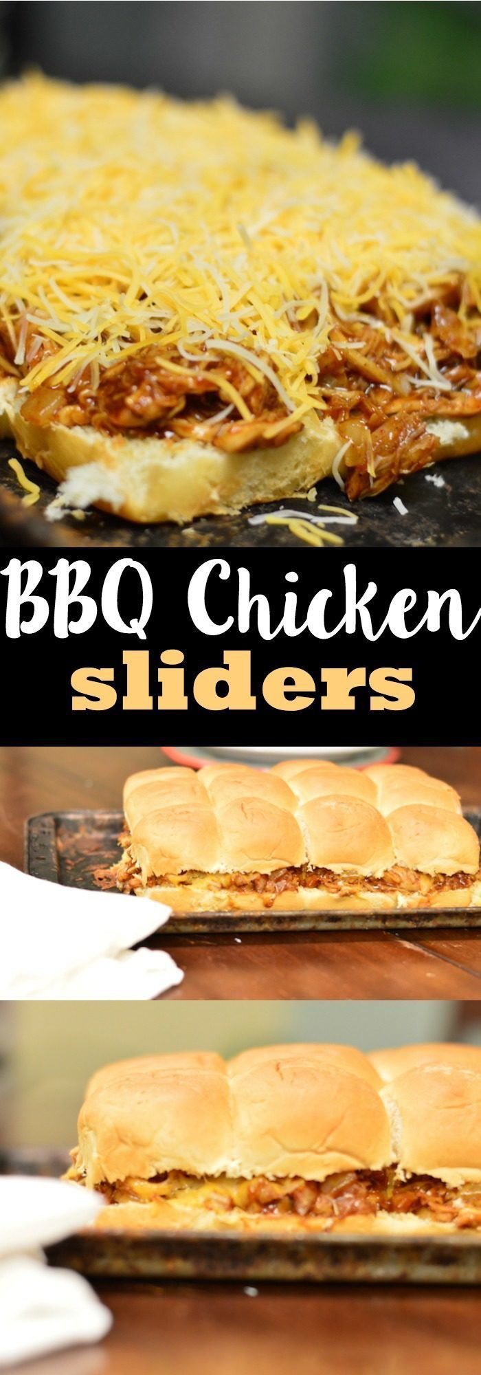 BBQ Chicken Sliders with Cheese on Hawaiian Rolls. The perfect appetizer, party favor, or quick weeknight dinner.