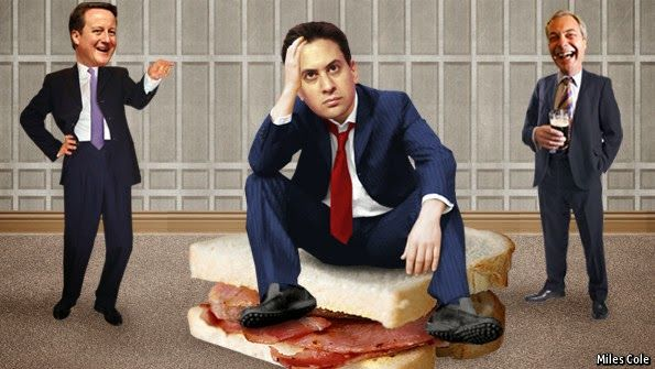 I would feel uncomfortable with voting for a Labour party led by Ed Miliband. Copyright from the Economist I could never trust a politician who looked so uncomfortable eating a bacon sandwich. The ...