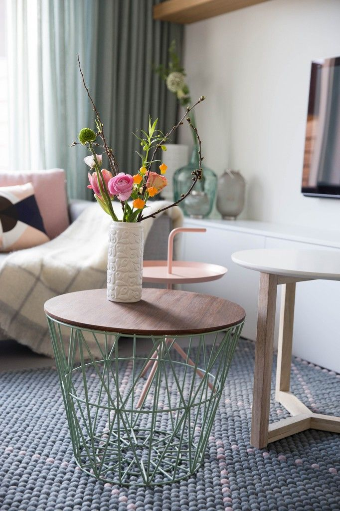 Our mint Wire Basket with a Oiled Oak Wire Basket Top is perfect with summer flowers in your living room.  Wire Baskets: http://www.fermliving.com/webshop/shop/wire-baskets.aspx