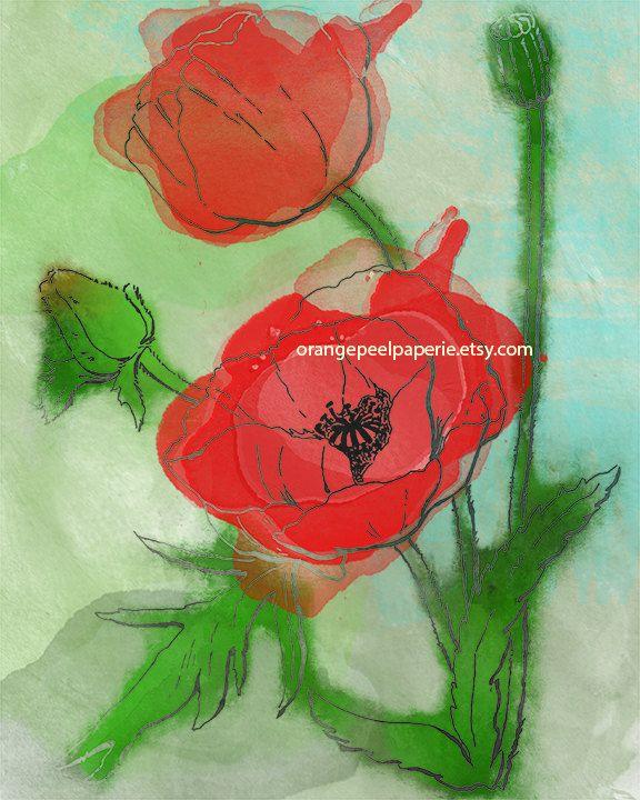 Poppy Art Print, Poppy Wall Art, Remembrance Day Print, Veterans Day Print, Floral Art Decor, Poppy Art Decor, Red Wall Art, Botanical Art by OrangePeelPaperie on Etsy