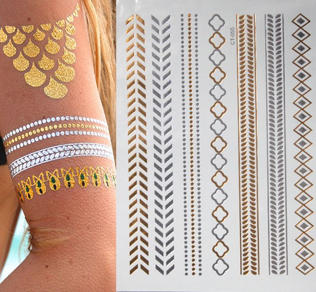 Flash temporary tattoos sleeve glitter Tatoo flash gold metallic henna fake tattoo arabic golds tattoo body art