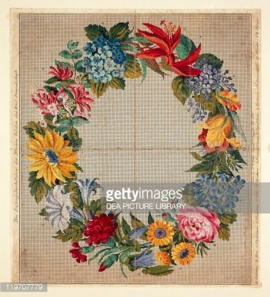 Stock Photo : Pattern for garland of flowers, initial letters compose German word Freundschaft, Friendship, Embroidery, 19th century