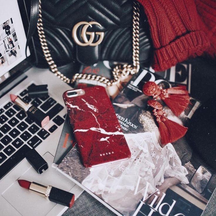 red marble BURGA iphone 7 plus, iphone 8 plus phone case   Stylsih flatlay | burga red marble phone case | autumn style | autumn fashion | fall fashion | fall style | pop of red | gucci | red BURGA phone case |