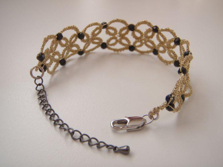 Gold Metallic Tatted Bracelet by tattingblackkitty on Etsy