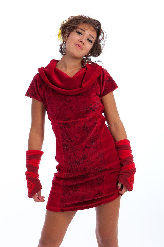 Velvet dress with printed panels