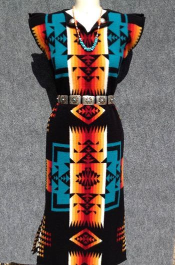 Navajo Fashion Designers | Photo: Blanket dress in black Chief Joseph. Visit Navajo Spirit, 815 ...