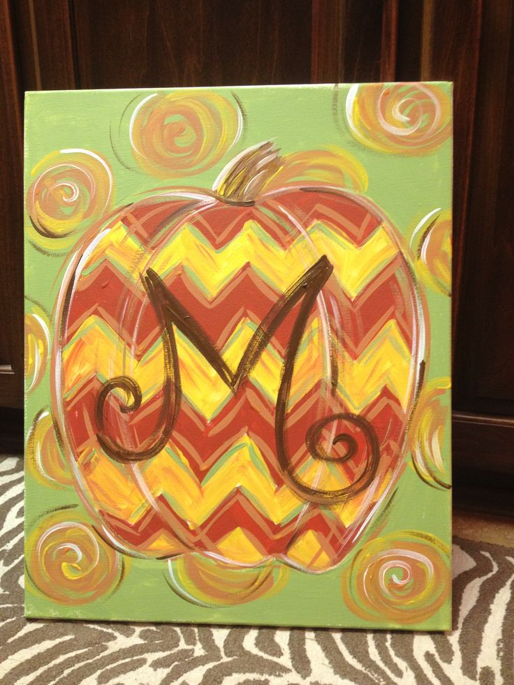 Currently Booking Paint Parties With This Super Cute Chevron Pumpkin Design I