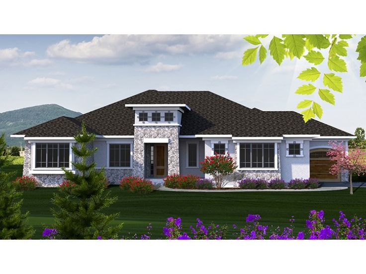 Home Plan HOMEPW77702 is a gorgeous 2507 sq ft, 1 story, 2 bedroom, 2 bathroom plan influenced by + Mediterranean Modern Homes style architecture.
