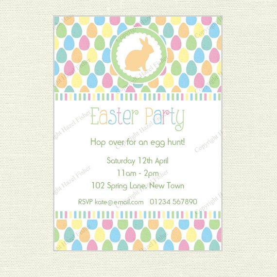 Easter Bunny Invitation for Easter Party / Egg Hunt by hfcSupplies on Etsy. Customised printable design.