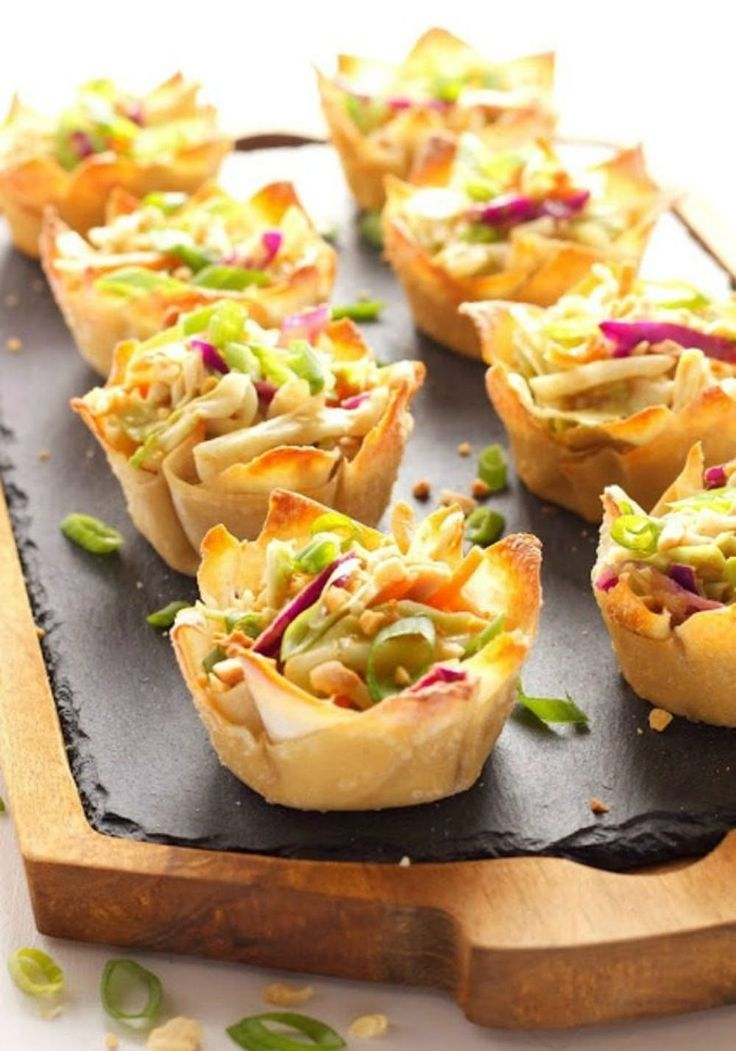 Thai Peanut Salad Cups New Year S Eve Appetizers New Year Food In