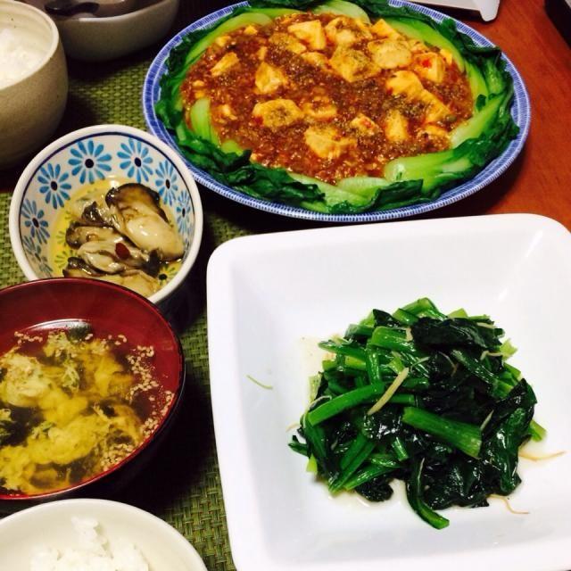 何となく麻婆豆腐がバズってる気がしたので、私もw - 8件のもぐもぐ - 麻婆豆腐、小松菜炒め、牡蠣のオイル漬け(ごま油ver.)、ごはん、中華風スープ by schenklu
