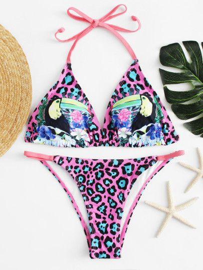Bird Print Leopard Bikini Set -SheIn(Sheinside)