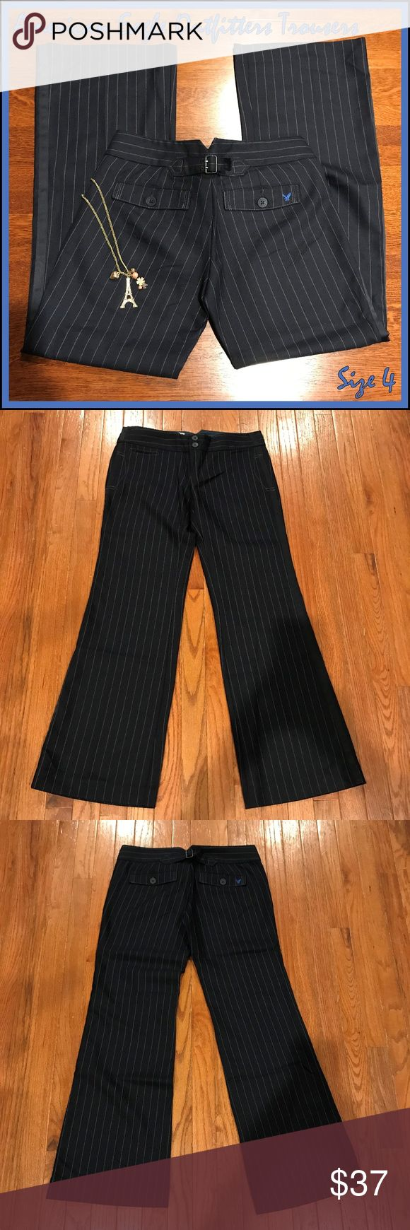 """🐣 American Eagle Outfitters Wool-Blend Trousers I love the cute styling, including the back buckle, on these classy AEO wool-blend trousers. They are i EUC and ready to help you take on the world in style.  Measurements:  •Waist, laying flat across front: 16.75"""" •Inseam: 31.75"""" •Rise: 8""""  From a smoke-free and happy-to-bundle closet.  The necklace is available in a separate listing.   No trades or transactions outside of Poshmark. [T224] American Eagle Outfitters Pants Trousers"""