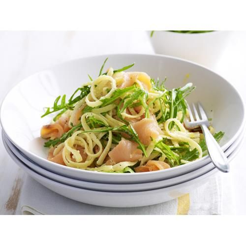 Linguine with smoked salmon and rocket recipe - By Australian Women's Weekly, A simple but luxurious pasta that makes a wonderful starter or a gorgeous light dinner.