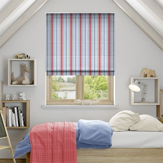 The Deauville Coastal Blue Roman Blind Combines A Classic Raspberry Red And  Navy Blue Striped Pattern