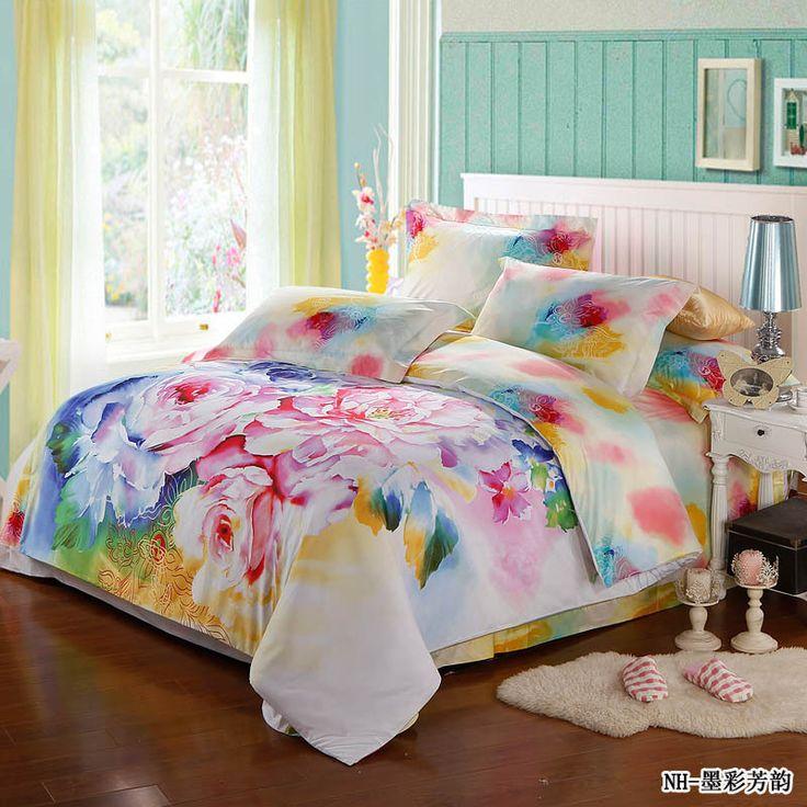 fresco 4 pezzi colorato rosa comforter set di biancheria da letto romantico per adulti full size