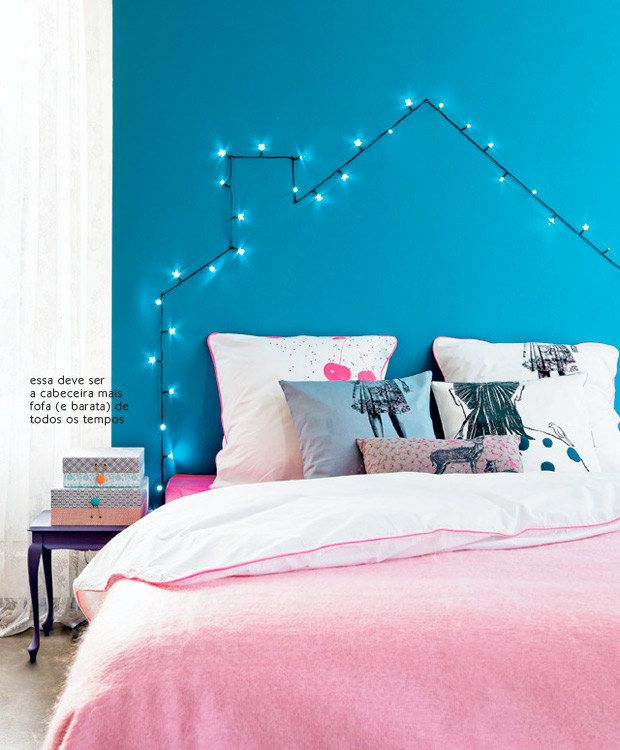 Se você sempre quis incluir luzinhas de Natal na decoração e não sabia bem como, faça uma cabeceira de cama! | 16 jeitos matadores de transformar seu quarto no melhor lugar do mundo