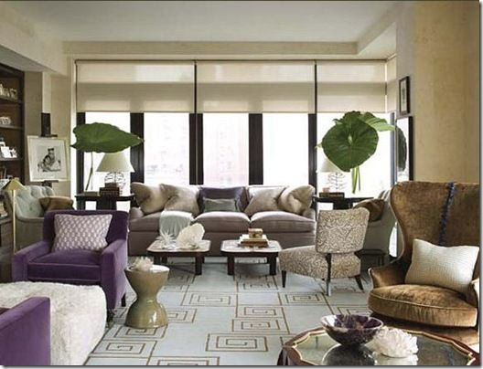 Jeffrey Bilhuber Living Room Grey And Lavender Color Palette Roman Shades Geometric Rug Wingback Layout
