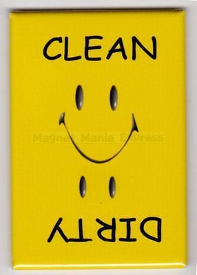 METAL DISHWASHER MAGNET Image Of Yellow Smiley Face Clean Dirty Dishes MAGNET X