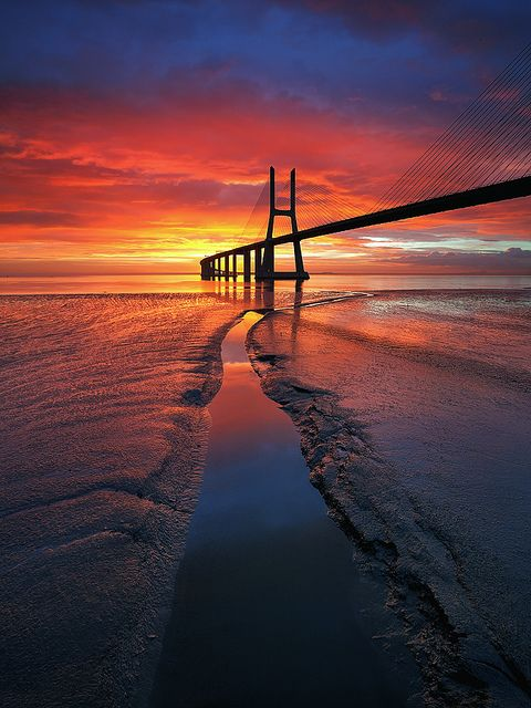 ~~Highway to Hell ~ sunrise, Vasco Da Gama Bridge, Lisbon, Portugal by CResende~~