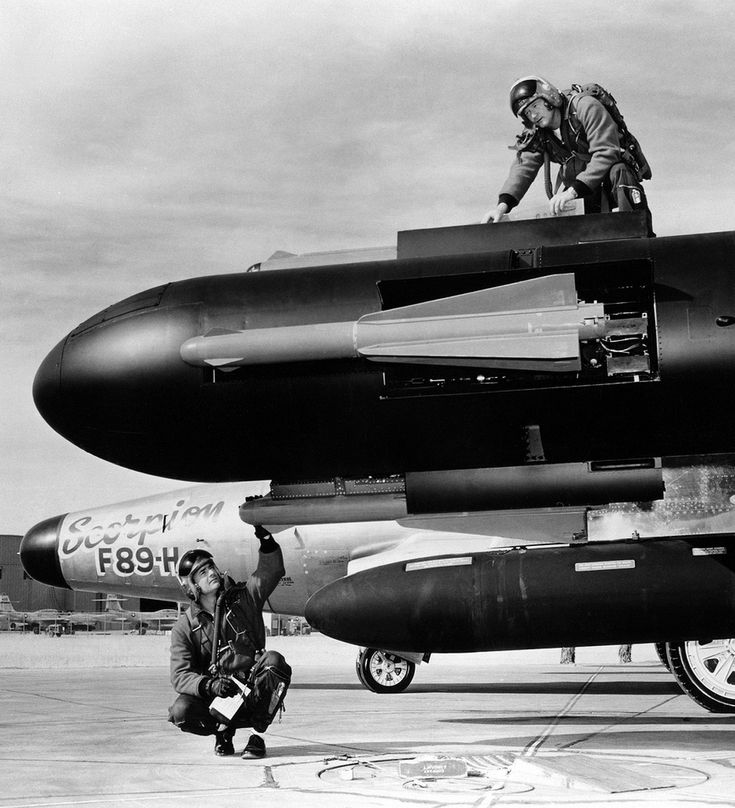 Wingtip pods-mounted Hughes FALCON AAM missiles on a Northrop all-weather interceptor
