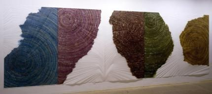 Sandeep Mukherjee  Untitled, 2005  Acrylic ink and embossed drawing on Duralene  5 panels: 8 x 5 feet eac