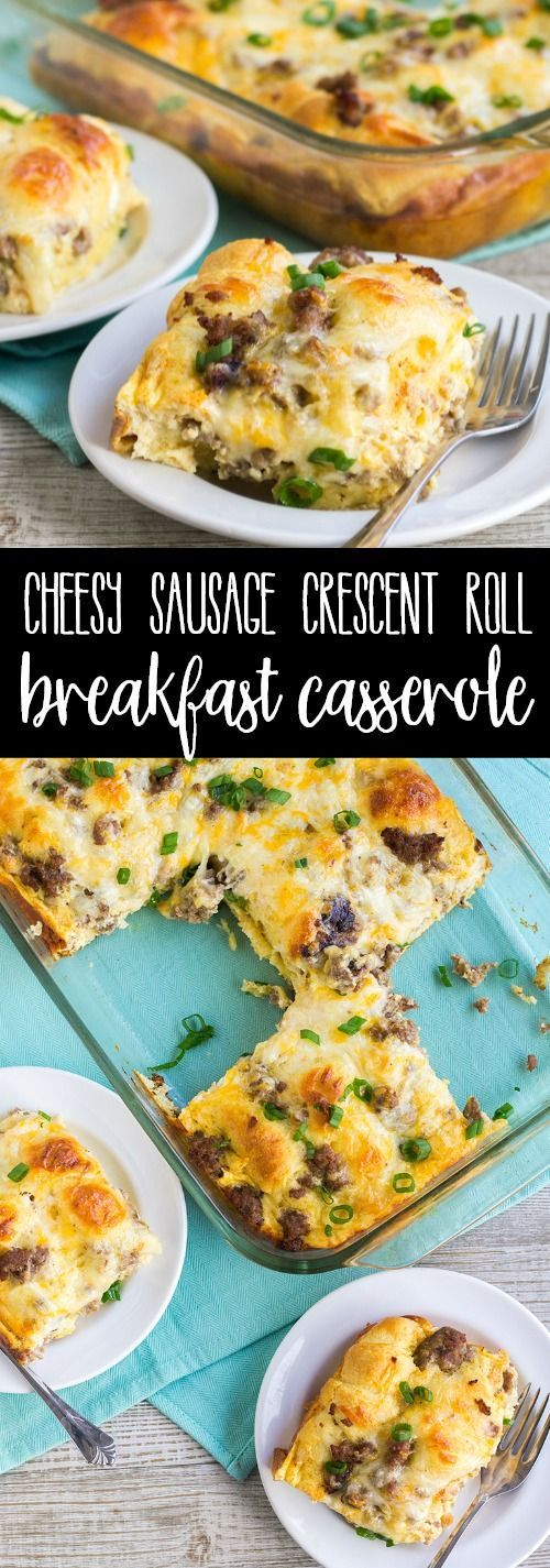 Cheesy Sausage Crescent Roll Breakfast Casserole is a filling breakfast that's great for a crowd! Buttery crescent rolls are smothered in sausage, cheese, and eggs for a brunch bite everyone loves! via @breadboozebacon