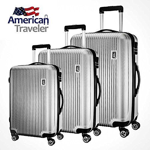 3 Piece Luggage Set by American Traveler - Lightweight, Anti-scratch - Glossy Striped Suitcase, Durable ABS material, 360 Spinner Wheels, and TSA Lock