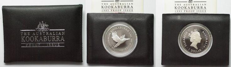 1995 Australien 1 oz silver AUSTRALIAN KOOKABURRA 1 Dollar 1995 in folder w. cert. Proof # 94520 Proof