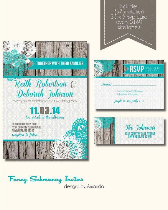 Rustic Wedding Invitation, Rustic Wedding Invitation Suite, Burlap and Lace Wedding Invitation on Etsy, $30.00