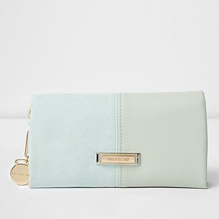 Light green panel foldover purse  15.00