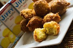 """These are the best hush puppies ever! Try it with your next fish fry. 1 pkg. """"JIFFY"""" Corn Muffin Mix 1 egg 1/3 cup milk 1/4 cup flour 1/2 cup onion, finley chopped 2 tsp garlic powder 2 tbs parsley flakes frying oil Preheat oil in deep fryer to 375°F. Combine muffin mix, egg, milk, flour, garlic powder, parsley flakes and onion. Mix well. Drop by teaspoon into oil. Fry 4 minutes (2 minutes on each side) or until golden brown. Drain and serve. #Jiffy #Cornbread #Hushpuppies"""