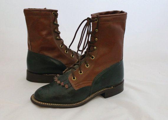 Vintage vert de chasseur et de bottes en cuir brun avec gland Fringe / deux tons Lace Up bottes avec frange / Texas marque cuir bottes / taille 6.5 63,71 €