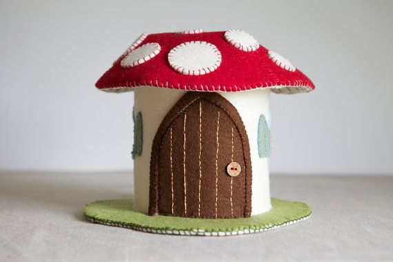 Toadstool Felt House Sewing Pattern  DIY embroidery by MakerMagpie