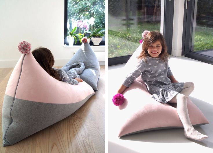 Kids pouf - pastel pink & grey