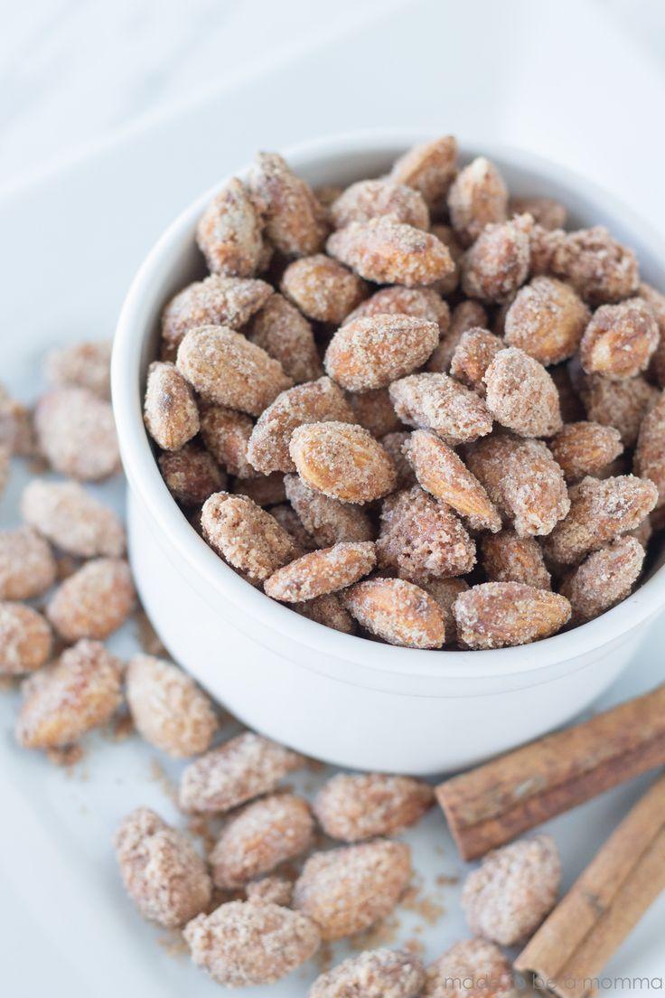 Cinnamon Sugared Almonds: recipe at madetobeamomma.com