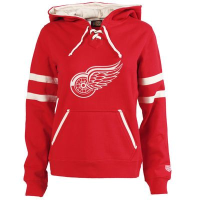 Women's Detroit Red Wings Old Time Hockey Red Grant Lace-Up Slim Fit Hoodie