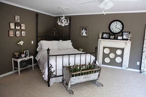 placing the bed in the corner opens tons of space in the bedroom. And its an unexpected perspective. love the wall color :)