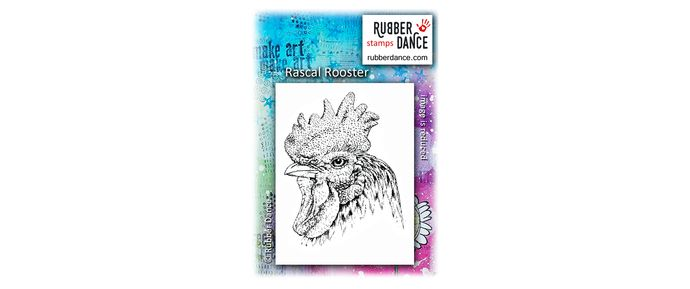 Rascal Rooster. UN-mounted, red rubber stamp. BIG bird, size is about 10 x 7 cm. Handsom rooster with fantastic details that stamp beautifully!