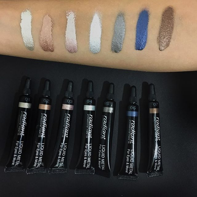 For eyes or lips, our Liquid Metal range, will become the favorite item of a makeup junkie's every day routine! #radiantprofessional #liquidmetal #makeup #metallic #eyes #lips