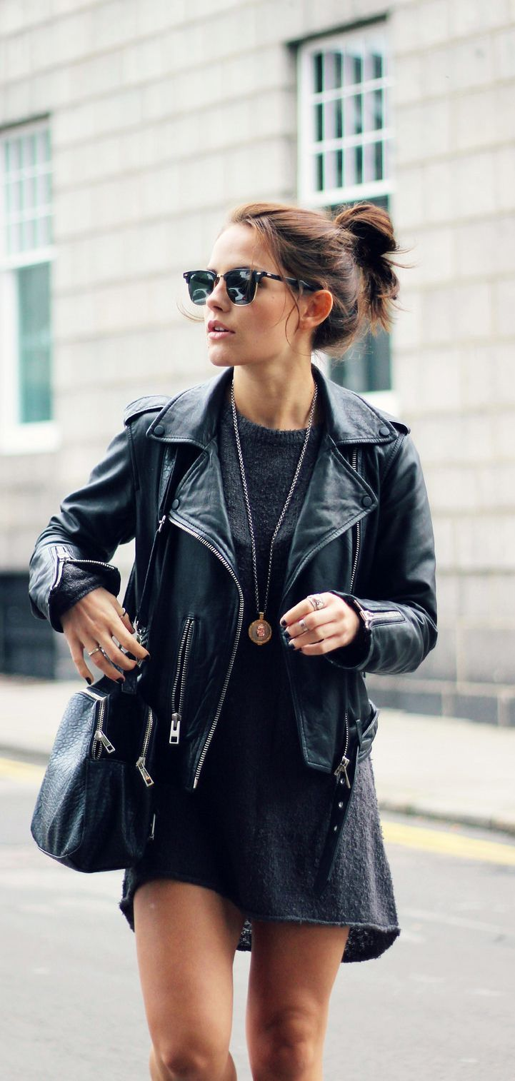 Leather Coat / Jacket over Dress with Bag and Sunglasses - Hair Inspiration #favorite_pin
