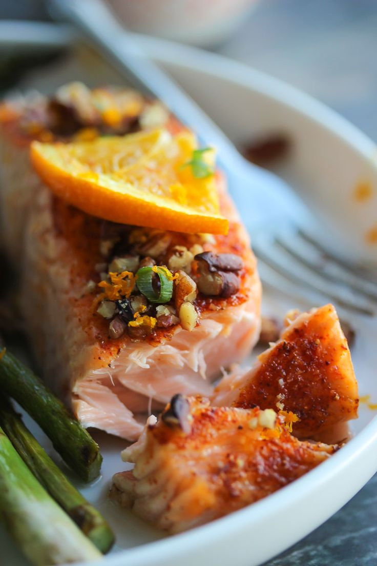Beautiful Baked Salmon Filets With A Zesty Orange Maple Glaze And Crushed  Pecans This Salmon