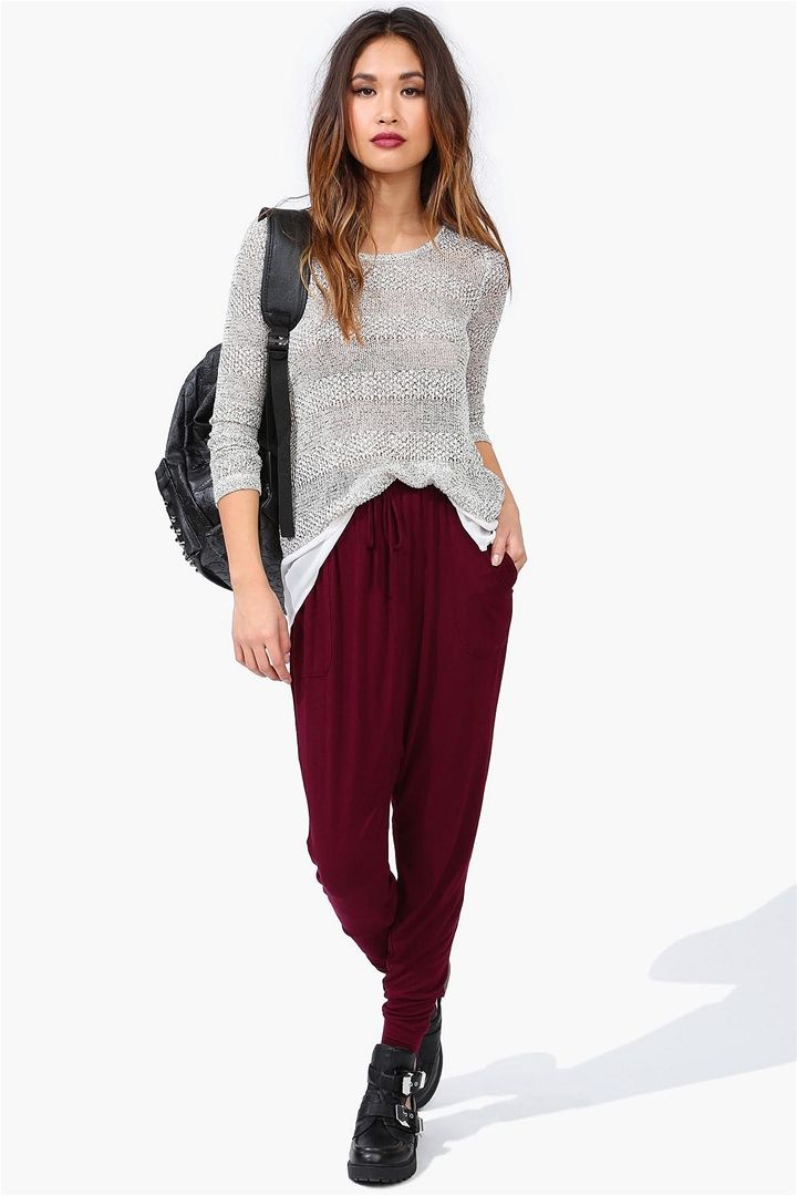 fine outfits with burgundy joggers hair