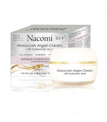 Naturalny krem arganowy z kwasem hialuronowym, na noc, nawilżający i przeciwzmarszczkowy, 50 ml, Nacomi
