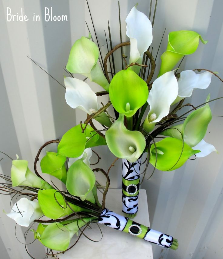 lime green wedding ideas | lime green calla lily damask wedding bouquet